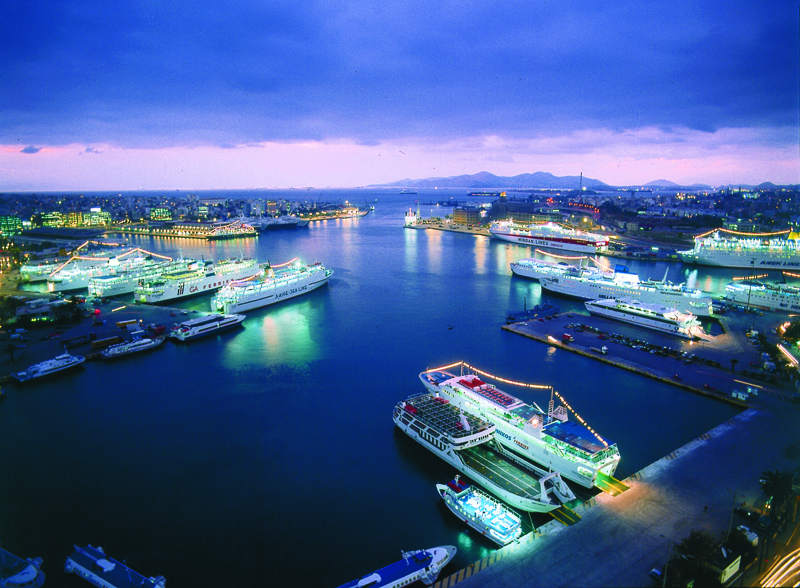 Piraeus Port at night