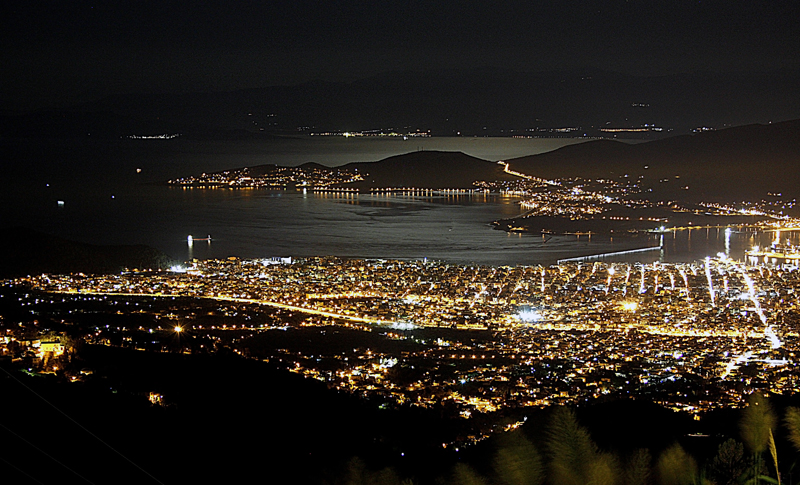 Volos by night from above