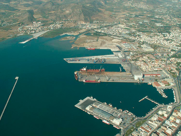 The cruise terminal in the front and the container terminals inthe back
